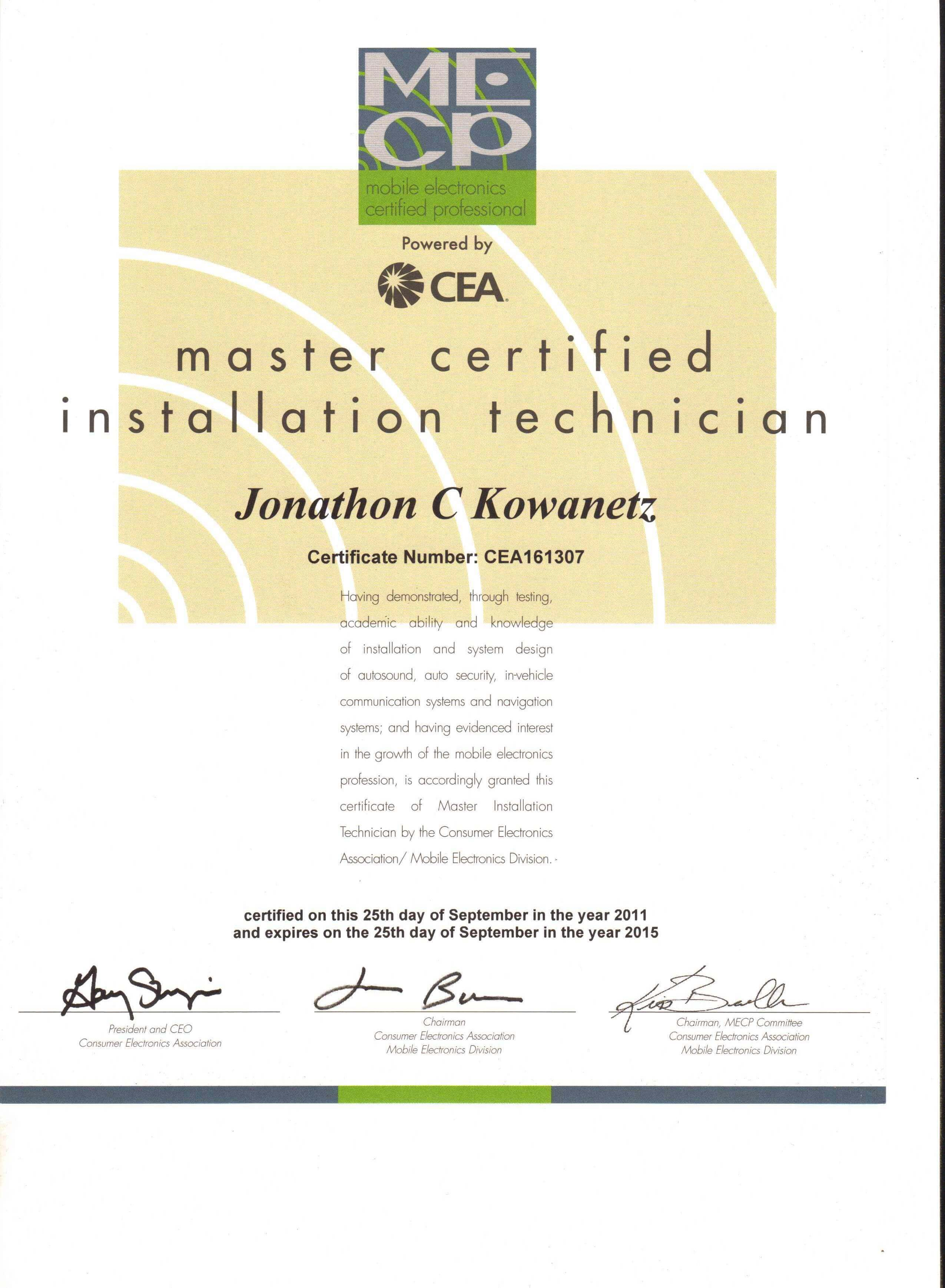 Media awards handcrafted car audio jons certificate for renewing his master certification in 2011 xflitez Choice Image