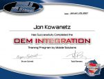Certificate of Completion from an installation class.