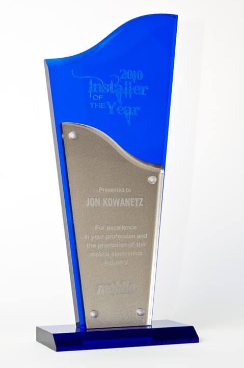Jon Kowanetz's trophy for winning Installer of the Year in 2010.